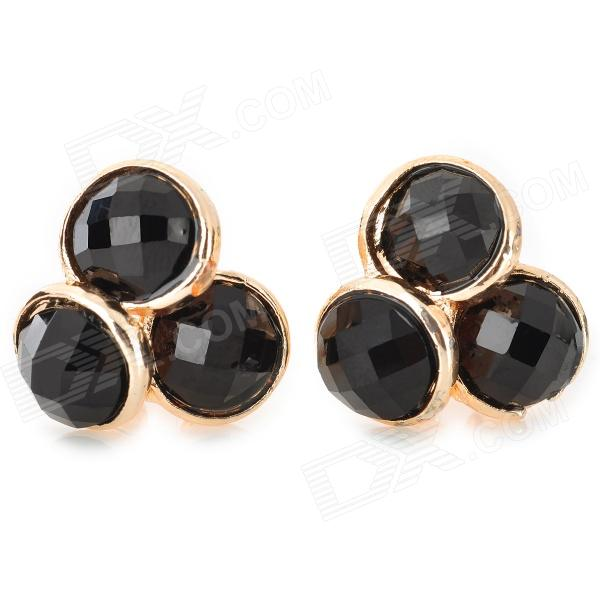 Stylish Shiny Rhinestone Studded Earring - Black + Golden (2 PCS)