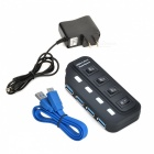 High Speed 5Gbps USB 3.0 4-Port Hub w/ Switches / 4-LED Indicators - Black