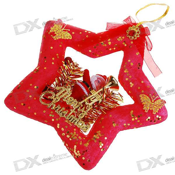 Solid Foam Star Santa Claus Christmas Tree Ornament (Red)