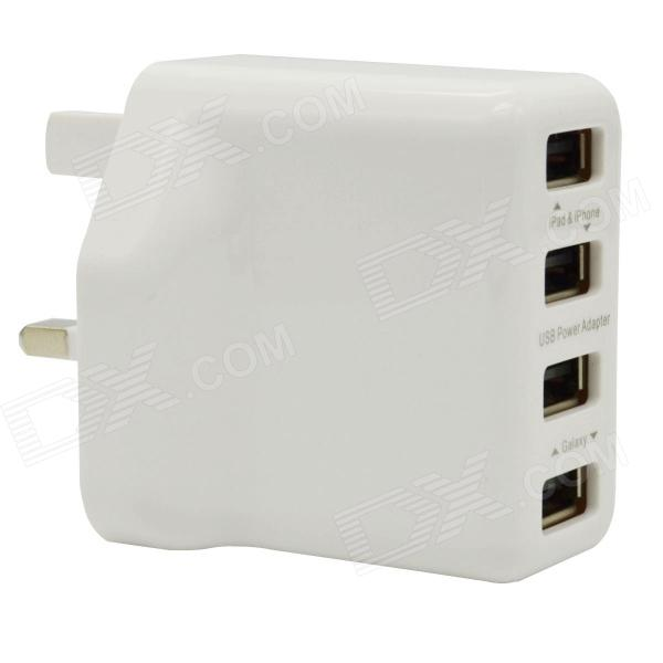 Universal 18W 4-USB Adapter Carregador AC para Celular - White (UK Plug / 100 ~ 240V)