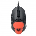 AULA USB Wired Personalized Custom 400 / 800 / 1200 / 1600dpi Gaming Mouse - Black + Red