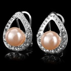 Elegant Shiny Crystal + Pearl Inlaid Water Drop Style Earring - Pink + Silver (2 PCS)