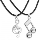 Collier de mode de notes musicales pendant Couple - Noir + argent (2 PCS)