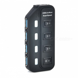 Portable Superspeed USB 3.0 4-Port Hub w/ Independent Switch