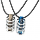 Stylish PU + Zinc Alloy Couple's Necklace - Black + Silver (2 PCS)