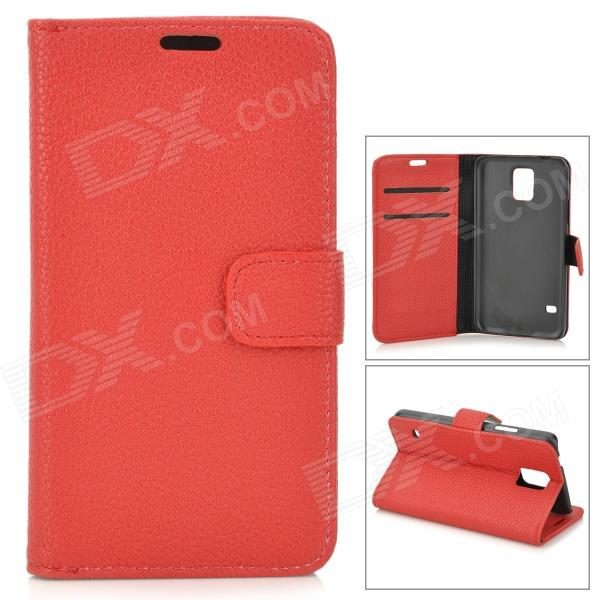 PU-S5 Stylish Flip-open PU Case w/ Stand + Card Slot for Samsung Galaxy S5 - Red kinston stylish flip open pu plastic case w stand card slot for nokia lumia 520 4 3 black