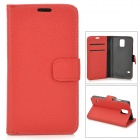 PU-S5 Stylish Flip-open PU Case w/ Stand + Card Slot for Samsung Galaxy S5 - Red