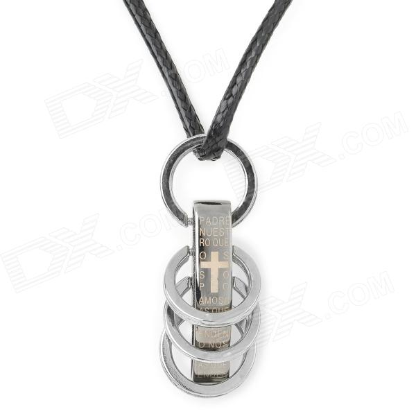 Stylish 316L Stainless Steel Pendant Necklace - Black