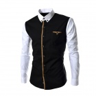 8675 Stylish Stitching Slim Long-Sleeve Shirt - Black + Milky White (Size L)