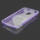 ''S'' Shaped Protective TPU + PC Back Case w/ Stand for Samsung Galaxy S5 - Transparent + Purple
