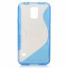 ''S'' Shaped Protective TPU + PC Back Case w/ Stand for Samsung Galaxy S5 - Transparent + Blue