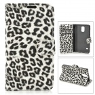 Leopard Pattern Protective PU Leather + Plastic Flip Open Case w/ Stand / Card Slots for Samsung S5