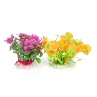 E5LH Aquarium Decorative Lifelike Artificial Water Plants - Purple + Yellow (2 PCS)