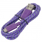 IKKI USB 2.0 to Micro USB Charging / Data Braided Cable for Motorola Moto G / DVX - Purple (100cm)