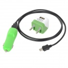 Mini 5V Dual USB Car Charger + EU Plug Adapter + Charging Cable for Samsung - Green + Black