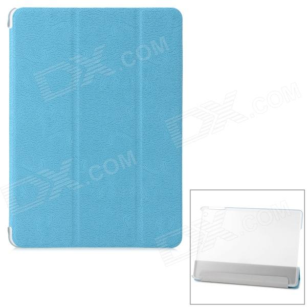 Dragon Pattern Protective PU + Plastic Case w/ Stand / Auto Sleep for IPAD AIR - Blue + Transparent