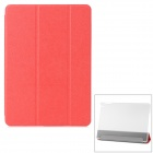 Dragon Pattern Protective PU + Plastic Case w/ Stand / Auto Sleep for IPAD AIR - Red + Transparent