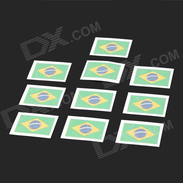 Flag of Brazil Pattern Tattoo Stickers - Green + Blue + Yellow (10 PCS)