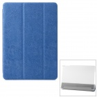 Dragon Pattern PU + Plastic Case w/ Stand / Auto Sleep for IPAD AIR - Dark Blue + Transparent