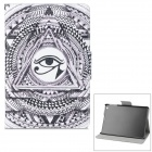Eye Pattern PU + ABS Case w/ Stand / Auto-Sleep for Retina IPAD MINI / IPAD MINI - Black + White