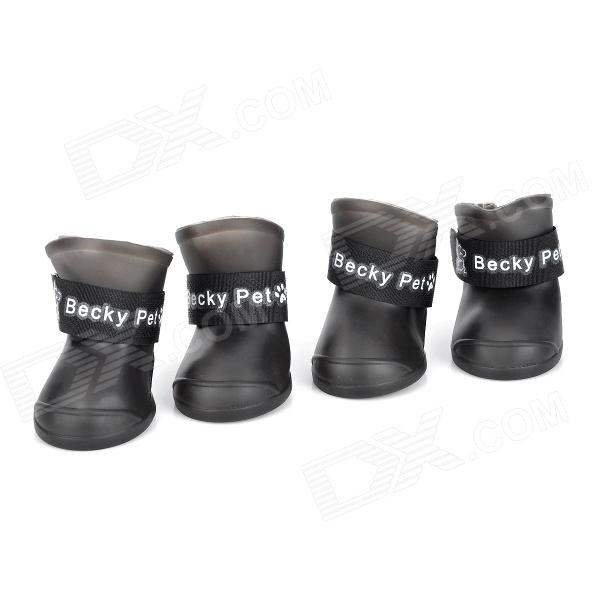 Anti-slip Rain Shoes for Pet Dog Cat - Black (4 PCS) anti skid pet dog rain shoes black size l 4 pcs