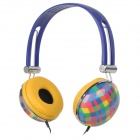 HP-800 Stylish Plaid Pattern 3.5mm Jack Wired Headset w/ Microphone - Dark Blue + Yellow