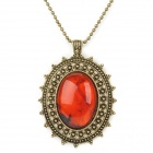 UBE UTY 7032 Retro Bohemia Style Necklace - Red + Brass