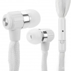 Universal Shoelace Style Fashion In-Ear Earphones w/ Microphone for IPHONE 4 / 4s / 5 / 5s - White