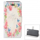 Flower Pattern Protective PU + ABS Case w/ Stand for IPHONE 5 / 5S - Multicolored