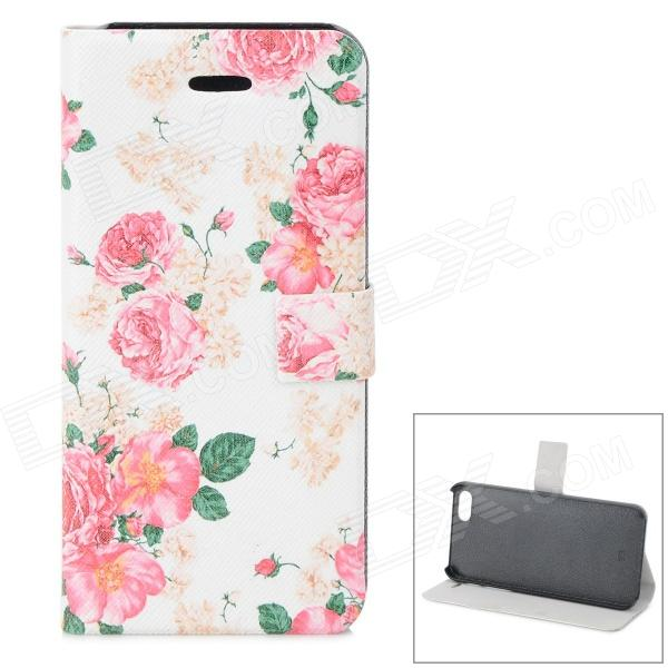 Rose Pattern Protective PU + ABS Case w/ Stand for IPHONE 5 / 5S - White + Pink + Green virgo pattern protective abs pc hard back case w rhinestone for iphone 5 deep pink white