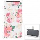 Rose Pattern Protective PU + ABS Case w/ Stand for IPHONE 5 / 5S - White + Pink + Green