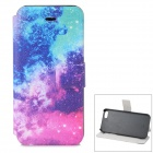 Starry Pattern Protective PU + ABS Case w/ Stand for IPHONE 5 / 5S - Multicolored