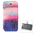 Water Drops Pattern Protective PU + ABS Case w/ Stand for IPHONE 5 / 5S - Purple + Multicolored