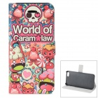 Cartoon Pattern Protective PU + ABS Case w/ Stand for IPHONE 5 / 5S - Yellow + Red + Multicolored