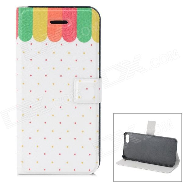 Rainbow Dot Pattern Protective PU + ABS Case w/ Stand for IPHONE 5 / 5S - White + Multicolored kinston flowers butterfly pattern pu plastic case w stand for iphone 6 plus multicolored
