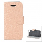 Diamond Pattern Protective PU + Plastic Case w/ Stand for IPHONE 5 / 5S - Golden