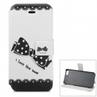 Bow Pattern Protective PU + ABS Case w/ Stand for IPHONE 5 / 5S - White + Black