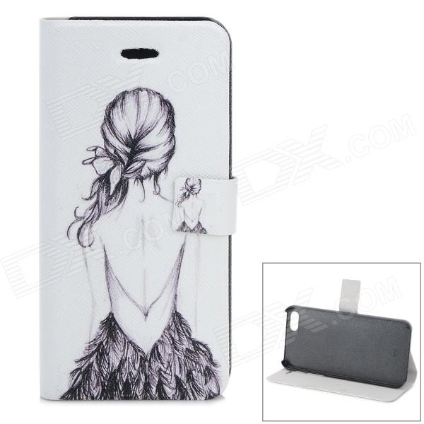 Girl Back Pattern Protective PU + ABS Case w/ Stand for IPHONE 5 / 5S - White + Black protective pu case w stand strap for iphone 5 5s black
