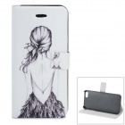 Girl Back Pattern Protective PU + ABS Case w/ Stand for IPHONE 5 / 5S - White + Black