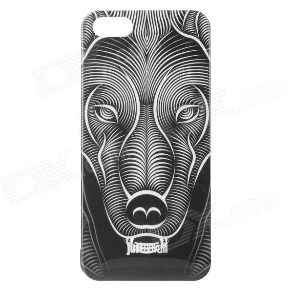 Zebra Pattern Beskyttende Plast Back Case for IPHONE 5 / 5S - Hvit + Svart