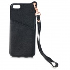 Protective Silicone + PU Back Case w/ Strap for IPHONE 5 / 5S - Black