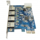 WBTUO LT-104 PCI-E 4 Port USB 3.0 Card Adapter FL1100 Chip Expansion Card for Desktop - Blue