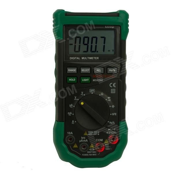MASTECH MS8268 Auto Range Multimeter w/ Sound / Light Alarm - Black + Green (3 x AAA)