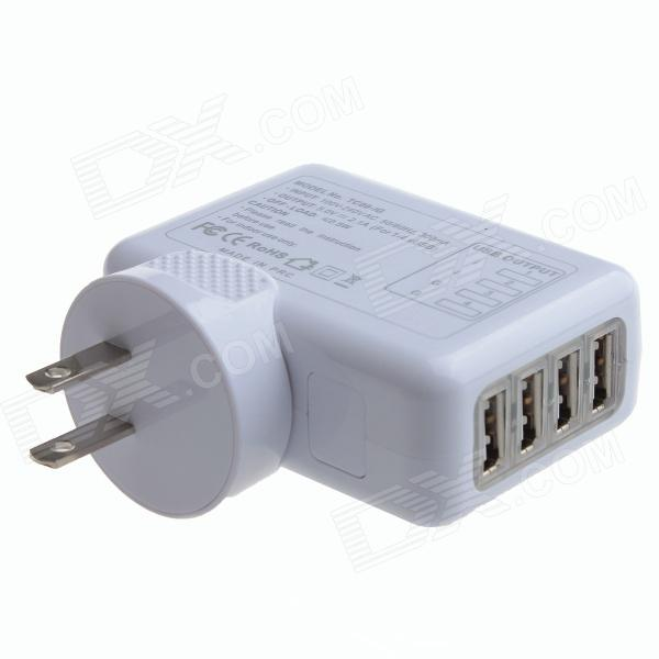 4-USB Port AC Power Charger Adapter for IPHONE / IPAD / Samsung / HTC - White (US Plug / 100~240V) 3 port usb ac uk plug power adapter for mobile phone tablet pc white 100 240v