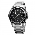 SKONE 7147 Fashionable Business Men's Steel Quartz Analog Wrist Watch w/ Calendar - Black + Silver