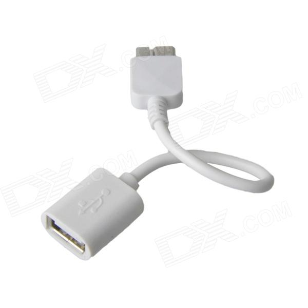 KS-365 USB 2.0 Female to Micro USB 9-Pin Male OTG Adapter Cable for Samsung Galaxy Note 3 - White micro usb 3 0 type b male to usb 3 0 a female adapter converter otg cable for samsung tablet