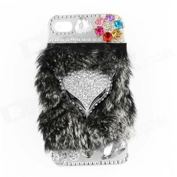 Fashion Rhinestone Fox Head Style ABS + Rabbit Hair Back Case for IPHONE 4 / 4S - Grey