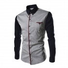 Stylish Stitching Slim Long-sleeved Sleeve Shirt - Gray (L)