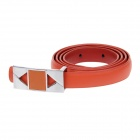 F-0818D256 Fashionable Second Layer Cowhide Women's Waist Belt w/ Zinc Alloy Buckle - White