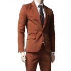 9059 Pure Slim enkelt rad Ett Button Drakter - Brown (XL)